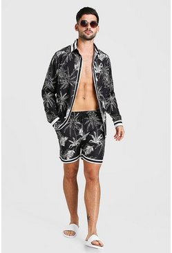 Black Long Sleeve Palm Print Shirt & Short Set