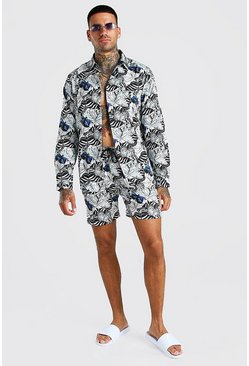 White vit Long Sleeve Butterfly Print Shirt & Short Set