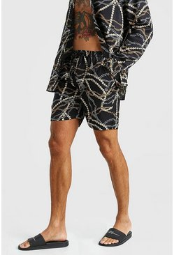 Black svart Chain Print Short