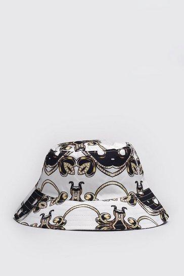 Black Baroque Print Bucket Hat