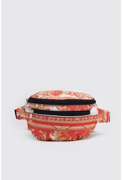 Red Baroque Print Bumbag