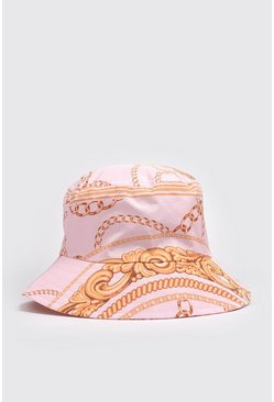 Pink Baroque Print Bucket Hat