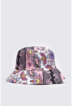 Pale pink pink Baroque Print Bucket Hat