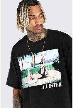 Black Oversized Bugs Bunny Meme License T-Shirt