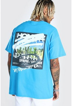 Blue Oversized MAN Official Graffiti Print T-Shirt