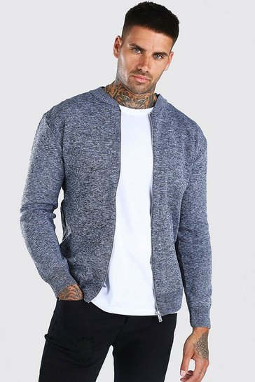 Grey marl grey Smart Knitted Bomber