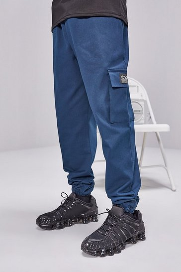 Teal Cargo Trousers With Woven Tab Detail