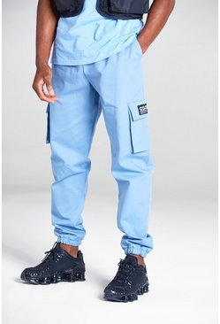 Powder blue blue Cargo Pants With Woven Tab Detail