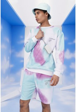 Purple MAN Official Embroidered Tie Dye Short Tracksuit