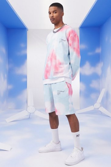 Pink MAN Official Embroidered Tie Dye Short Tracksuit