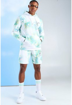 Multi MAN Official Watercolour Hooded Short Tracksuit
