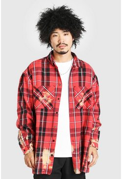 Extreme Oversized Bleached Flannel Check Shirt, Red Красный