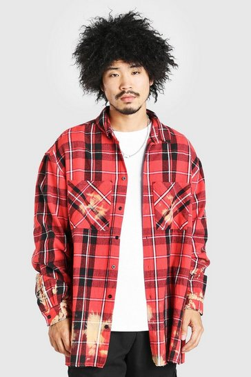 Red Extreme Oversized Bleached Flannel Check Shirt