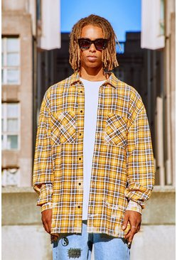 Extreme Oversized Bleached Flannel Check Shirt, Yellow Жёлтый