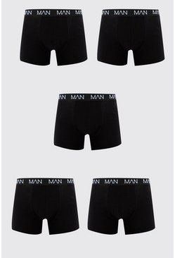 Black 5 Pack MAN Dash Repeat Mid Length Trunk