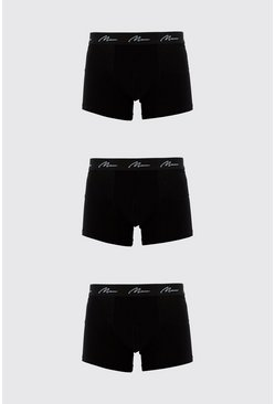 Black 3 Pack MAN Signature Mid Length Trunk