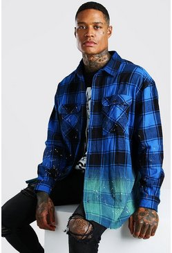 Oversized Ombre Bleach Check Shirt, Blue Синий