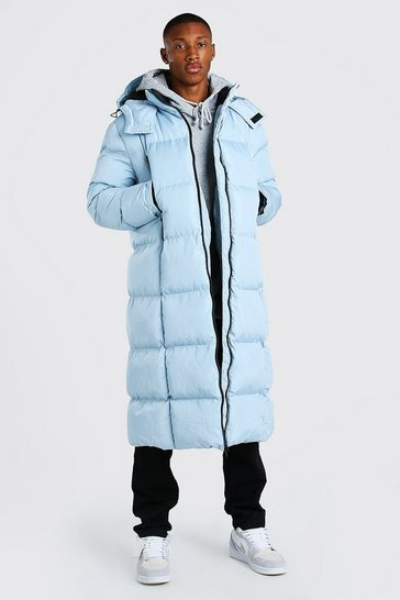Blue Longline Duvet Puffer With Zips