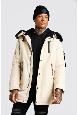 Stone beige MA1 Parka with Faux Fur Hood