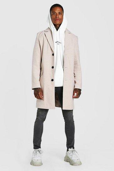 Beige Single Breasted Wool Mix Overcoat