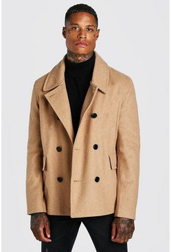 Camel beige Classic Wool Look Pea Coat