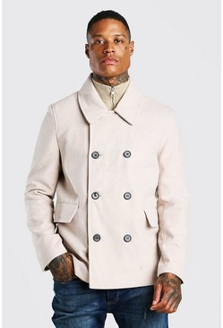 Beige Classic Wool Look Pea Coat