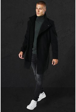 Black Funnel Neck Wool Look Overcoat