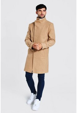 Camel beige Funnel Neck Wool Look Overcoat