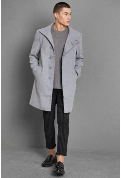 Grey Funnel Neck Wool Look Overcoat