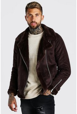 Chocolate brown Faux Fur Lined Suede Aviator
