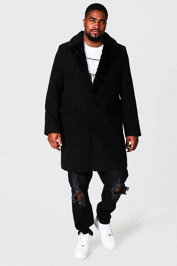 Black Plus Size Faux Fur Collar Overcoat