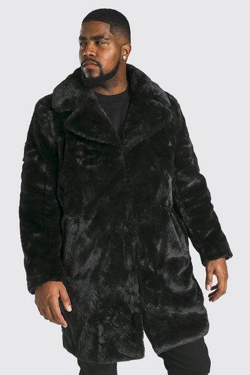 Black Plus Size Faux Fur Overcoat