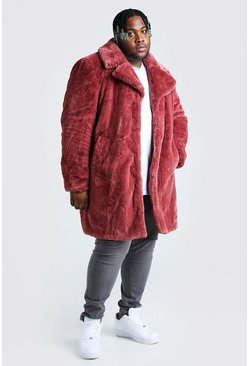 Pink Plus Size Faux Fur Overcoat