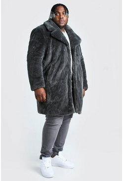 Slate grey Plus Size Faux Fur Overcoat