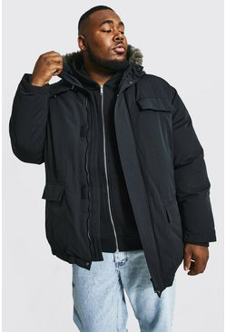 Black Plus Size Faux Fur Hooded Arctic Parka