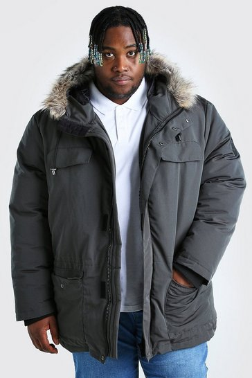 Charcoal grey Plus Size Faux Fur Hooded Arctic Parka