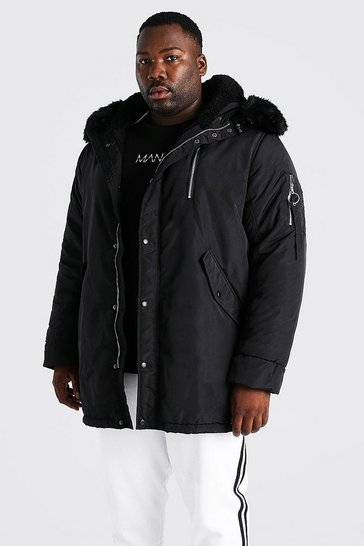Black Plus Size Parka With Faux Fur Hood