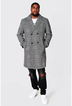 Grey Plus Size Double Breasted Check Overcoat