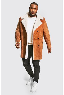 Tan brown Plus Size Borg Lined Double Breasted Overcoat