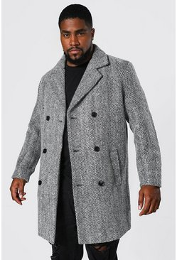 Black Plus Size Wool Mix Herringbone Overcoat