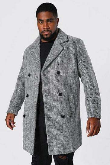 Black Plus Size Wool Mix Herringbone Overcoat