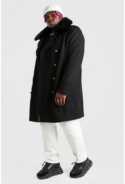 Black Plus Size Faux Fur Collar Coat