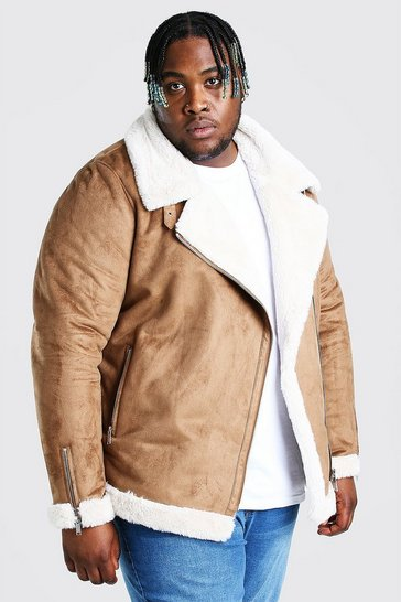 Tan brown Plus Size Faux Fur Lined Suede Aviator