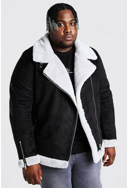Silver Plus Size Faux Fur Lined Suede Aviator