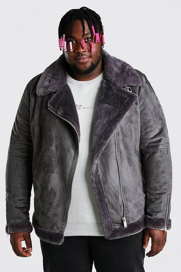 Charcoal grey Plus Size Faux Fur Lined Suede Aviator