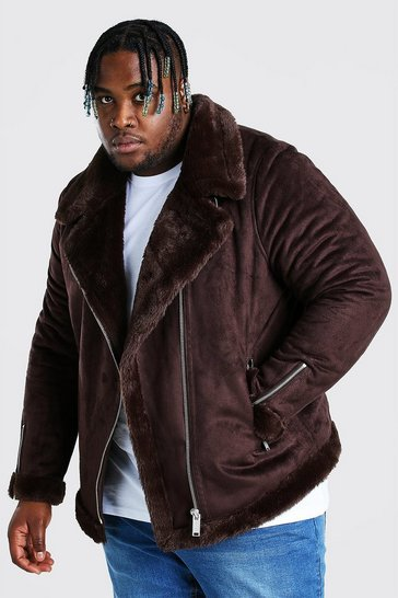 Chocolate brown Plus Size Faux Fur Lined Suede Aviator