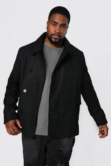 Black Plus Size Classic Pea Coat