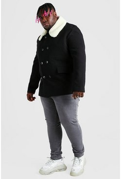 Black Plus Size Borg Collar Pea Coat