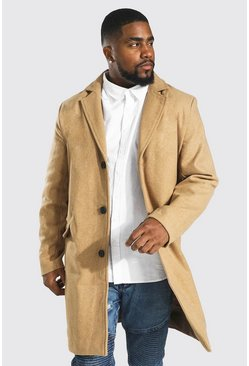 Camel Plus Size Single Breasted Overcoat