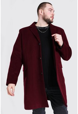 Oxblood red Plus Size Single Breasted Overcoat